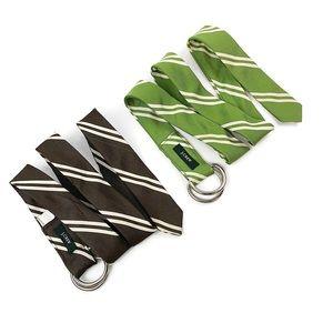 J. CREW 2 Silk Striped Fabric Belts Preppy D Ring